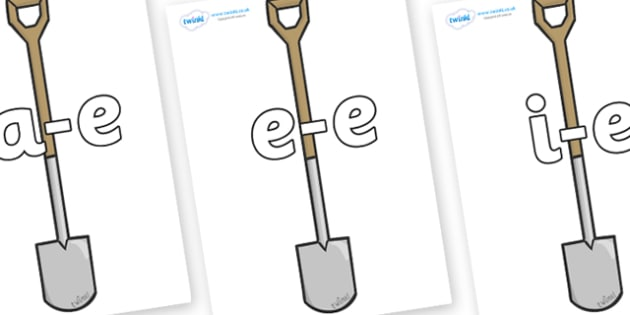 Modifying E Letters on Garden Spades - Modifying E, letters, modify, Phase 5, Phase five, alternative spellings for phonemes, DfES letters and Sounds