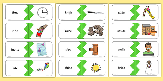5 Real i-e Split Digraph Words Matching Cards, silent e