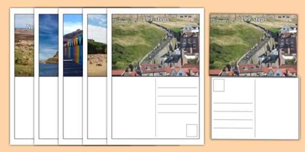 Whitby Landscape Postcards - north yorkshire, coast coastline, seaside, images, ks1, ks2, geography