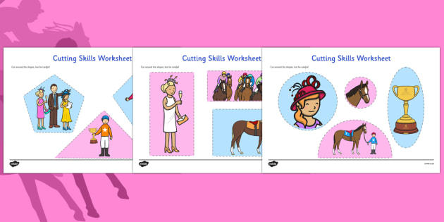 The Melbourne Cup Cutting Skills Worksheet - australia, melbourne cup, cutting skills, worksheet