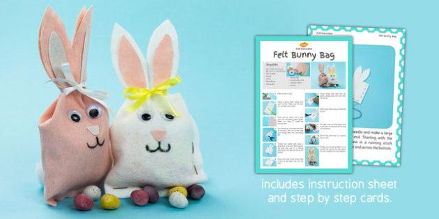 Felt Bunny Bag Craft Instructions - bunny, bag, craft, felt