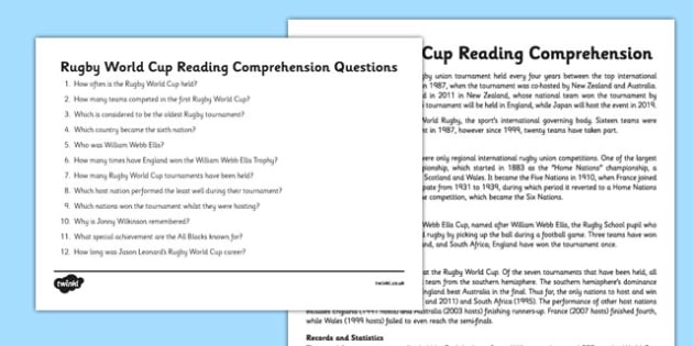 Rugby World Cup Reading Comprehension - rugby, world cup, comprehension