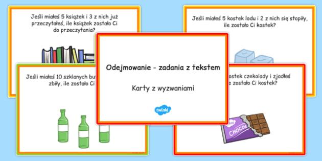Karty z wyzwaniami Zadania z tekstem na odejmowanie
