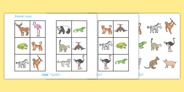 Animal Bingo - bingo, activity, game, Animals, lotto, animal, farm, pets, safari, wild life, zoo