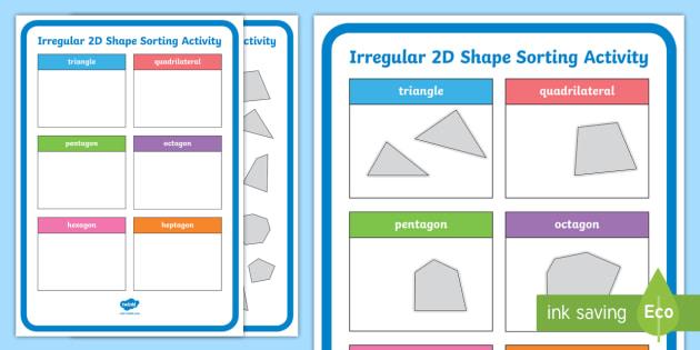 KS1 Irregular 2D Shape Sorting Activity - 2d, shape, sorting