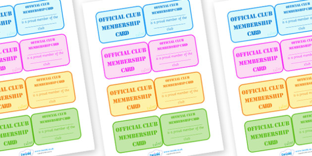 School Club Membership Cards - school club, membership, cards, badge, member