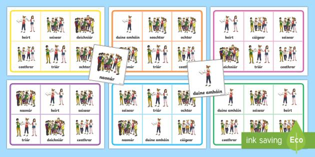 Number of People (Na hUimhreacha Pearsanta) Bingo Gaeilge - Gaeilge, Bingo, Games, Irish,vocabulary, foclóir, mé féin, counting people, people, na huimhreach