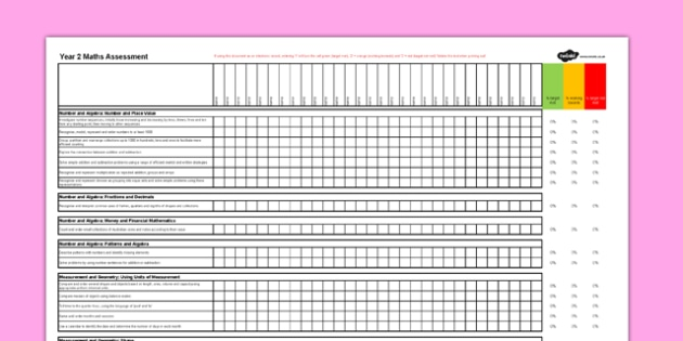 Australian Curriculum Year 2 Maths Assessment Spreadsheet - australia
