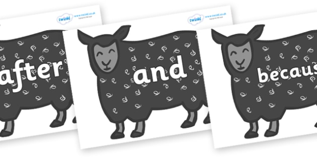 Connectives on Black Sheep to Support Teaching on Brown Bear, Brown Bear - Connectives, VCOP, connective resources, connectives display words, connective displays
