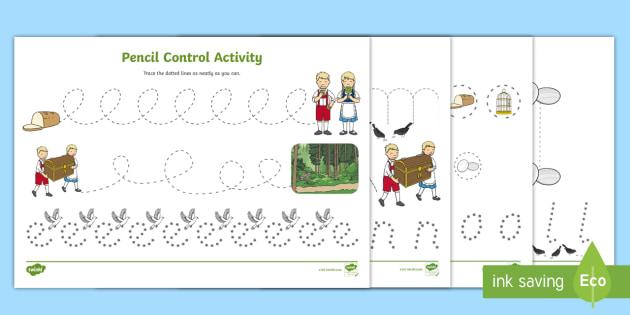 Pencil Control Sheets - pencil control, hansel, gretel, control
