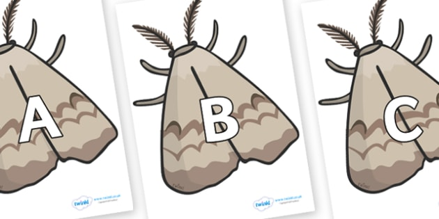 A-Z Alphabet on Moths - A-Z, A4, display, Alphabet frieze, Display letters, Letter posters, A-Z letters, Alphabet flashcards