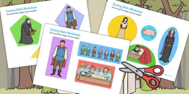 Snow White and the Seven Dwarfs Themed Cutting Skills Worksheet