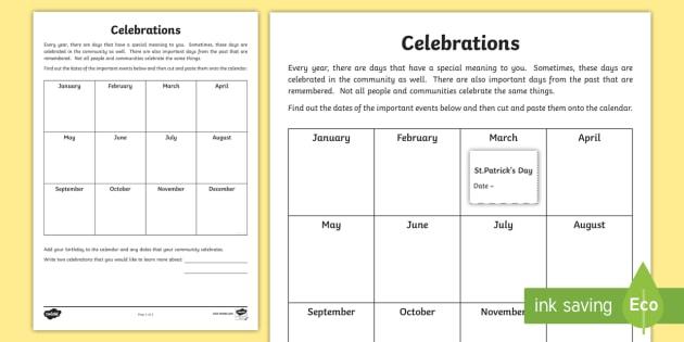 Community Celebrations Activity Sheet - Celebrations, annual, seasons, calendar, Australia, dates, events, festivals, Christmas, Hanukkah