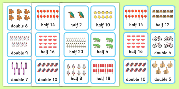 Doubles and Halves Cards - doubles, halves, cards, multiply, divide