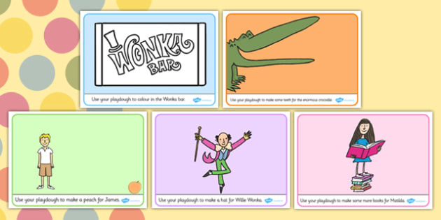 Roald Dahl Themed Playdough Mats - fine motor skills, story books