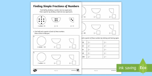 Finding Simple Fractions of Numbers Activity Sheet - Learning from home Maths Workbooks, Year 2 fractions, halves, quarters, fractions of amounts