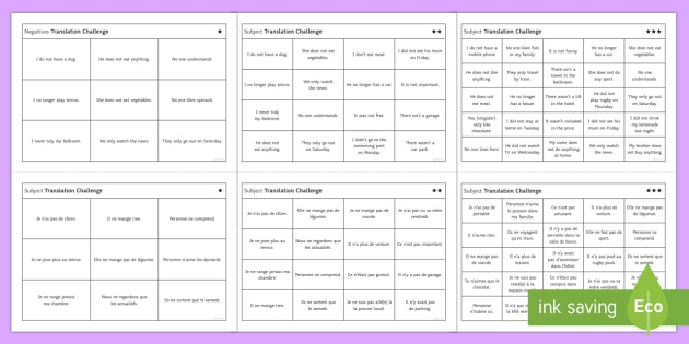 FFrench Negatives Translation Challenge Differentiated Activity Sheets English/French - French, Translation, practise, traduction, traduire, negatives, négatif,French