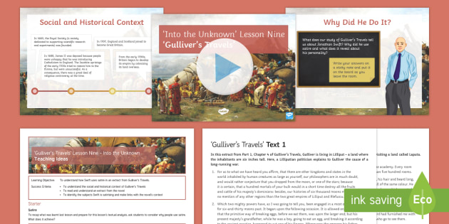 Into the Unknown Pre-1914 Literature Lesson Pack 9: Gulliver's Travels - Jonathan Swift, Gulliver's Travels, satire, pre-1914 literature, context