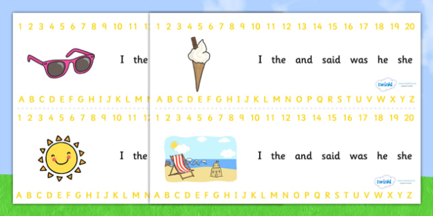 Combined Alphabet and Number Strips (Summer) - Summer, Alphabet, Numbers, Writing aid, holiday, holidays, seasons, beach, sun, flowers, ice cream, sea, seaside