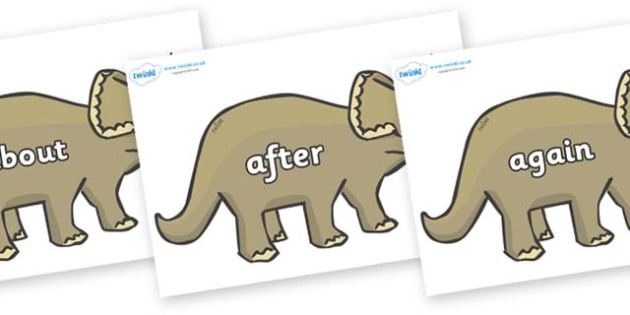 KS1 Keywords on Triceratops - KS1, CLL, Communication language and literacy, Display, Key words, high frequency words, foundation stage literacy, DfES Letters and Sounds, Letters and Sounds, spelling