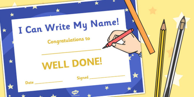 I Can Write my Name Certificate - certificate, name, writing