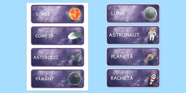 Spațiu - Cartonașe cu vocabular ilustrat - spațiu, cosmos, fotografii, cadru de scriere, pașaport, intergalactic, planete, în spațiu, univers, stele, planșe, imagini, cuvinte, materiale didactice, română, romana, material, material