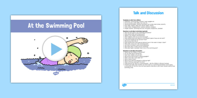 At the Swimming Pool - roi, irish, gaeilge, English, Oral language, the swimming pool