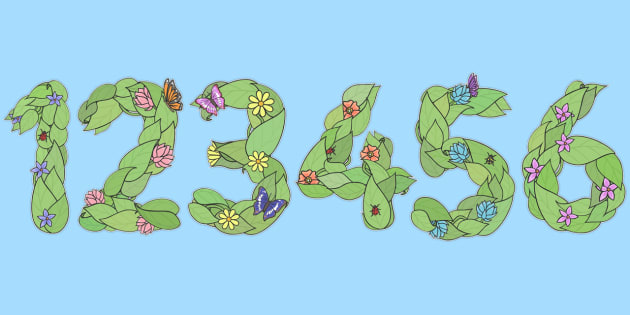 Display Numbers (Plants and Flowers) - numbers, A4, display, Flower, plant, growth, numeracy, Display numbers, number posters, numbers flashcards