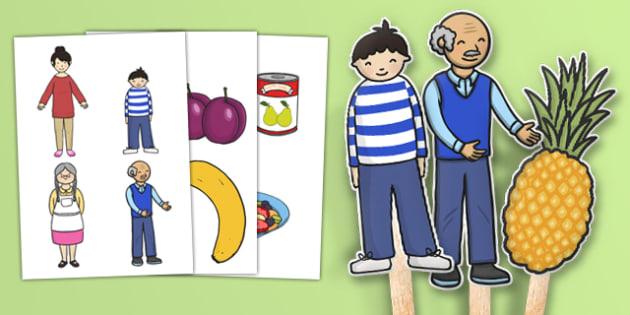 Fruit Salad Stick Puppets - olivers fruit salad, fruit salad, stick puppets