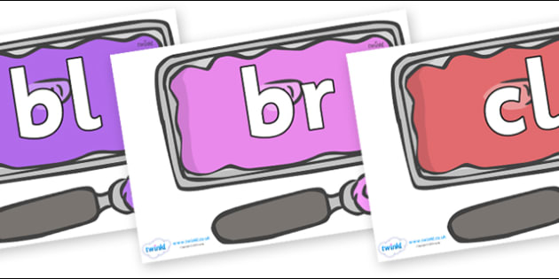 Initial Letter Blends on Ice Cream Tubs - Initial Letters, initial letter, letter blend, letter blends, consonant, consonants, digraph, trigraph, literacy, alphabet, letters, foundation stage literacy