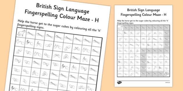 British Sign Language Left Handed Fingerspelling Colour Maze H