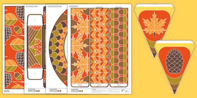 Autumn Party Pack Printable - paper models, prints, display, craft, make, seasons, orange, brown, ks1, ks2,
