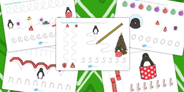 Monty the Penguin Pencil Control Worksheets - monty, penguin