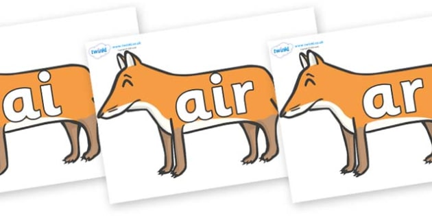 Phase 3 Phonemes on Foxes - Phonemes, phoneme, Phase 3, Phase three, Foundation, Literacy, Letters and Sounds, DfES, display