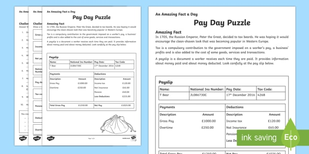 Pay Day Puzzle Activity Sheet - Amazing Fact Of The Day, activity sheets, powerpoint, starter, morning activity, worksheet, December