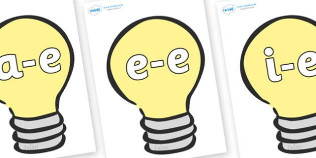 Modifying E Letters on Lightbulbs (Plain) - Modifying E, letters, modify, Phase 5, Phase five, alternative spellings for phonemes, DfES letters and Sounds