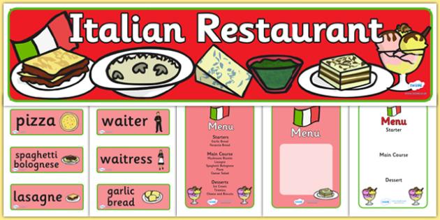 Italian Restaurant Role Play Pack - Italian restaurant, role play, pack, pasta, lasagne, food, Italian culture, Italy, spaghetti, menu