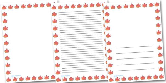 Autumn Leaf Portrait Page Borders- Portrait Page Borders - Page border, border, writing template, writing aid, writing frame, a4 border, template, templates, landscape