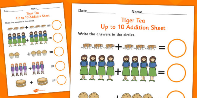 The Tiger Who Came to Tea Addition Sheet - tiger who came to tea, addition sheet, tiger who came to tea addition, addition sheets, numeracy, maths