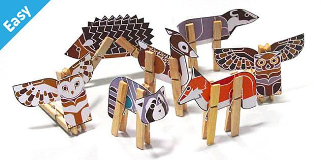 Enkl Woodland Peg Animals Printable - Enkl, arts, crafts, activity, adult, home, decor, designer, designer, decoration, interior, project, printable, cute, simple, paper, models, 3D, shape, colour, geek, clean