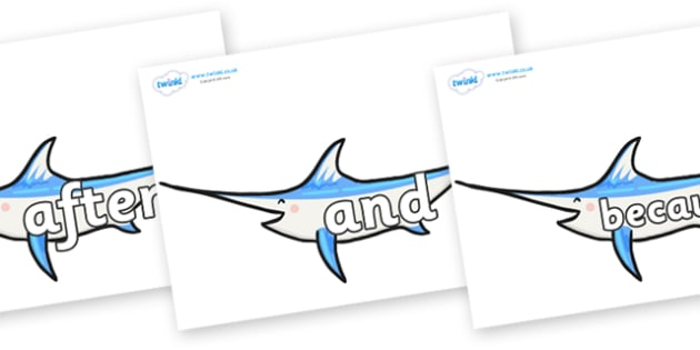 Connectives on Sword Fish - Connectives, VCOP, connective resources, connectives display words, connective displays