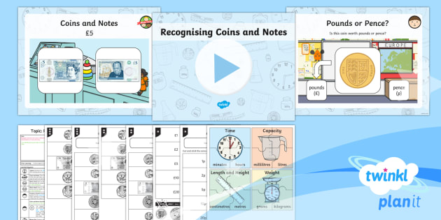 PlanIt Y1 Measurement Coins and Notes (1) Lesson Pack - Measurement, measures, recognise coins and notes, coins, notes, money, denominations, value.
