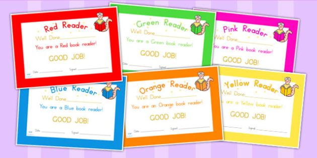 Editable Book Colours Reading Certificates - reading, certificate