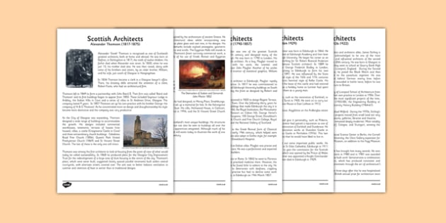 Scottish Architects Information Sheets - CfE, Scottish Architects, architecture, scotland, Alexander Thomson, William Henry Playfair, Robert Lorimer, James Stirling