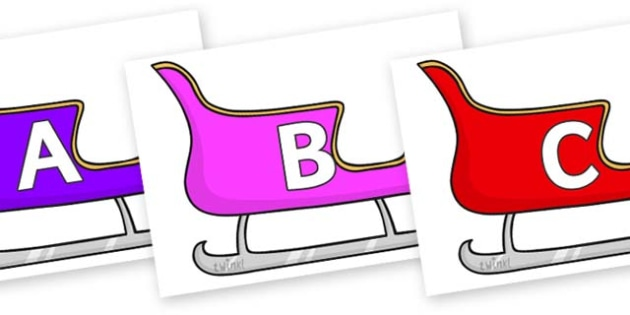 A-Z Alphabet on Christmas Sleighs (Multicolour) - A-Z, A4, display, Alphabet frieze, Display letters, Letter posters, A-Z letters, Alphabet flashcards