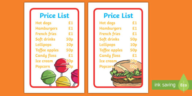IKEA Tolsby Fairground Food Stall Price List Prompt Frame
