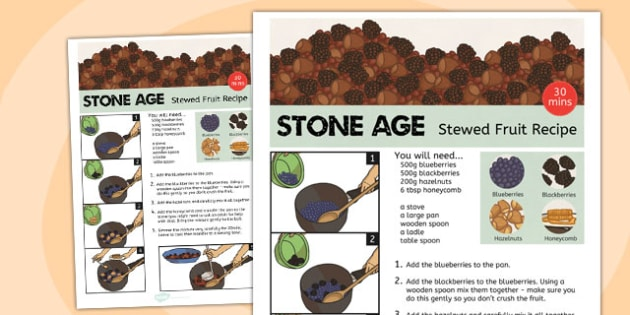 Stone Age Stewed Fruit Recipe Sheet - stone age, recipe, fruit
