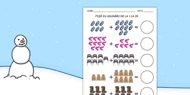 Îmbrăcăminte de iarnă - Fișă cu adunări 0-20 - îmbrăcăminte, haine, planșe, fișă, adunare, 0-20, iarna, decor, imagini, materiale, materiale didactice, română, romana, material, material didactic