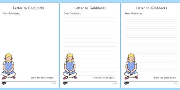 The Three Bears to Goldilocks Letter Writing Frames - Goldilocks, letter, activity, writing aid, traditional tales, tale, fairy tale, three bears, porridge, cottage, beds