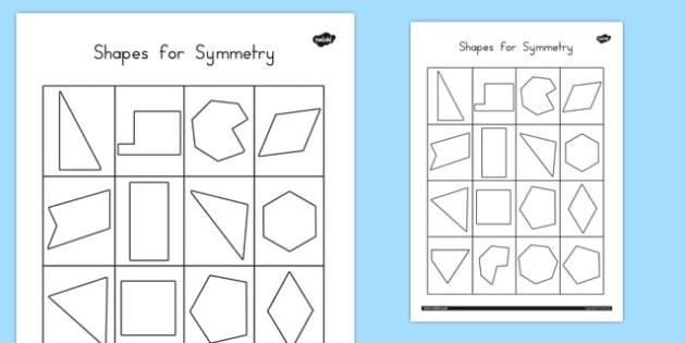 Shapes for Symmetry Activity Sheet - australia, symmetry, shapes